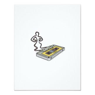 Compact Cassette Tape Man Dancing Mono Line Card