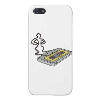 Compact Cassette Tape Man Dancing Mono Line Cover For iPhone 5/5S