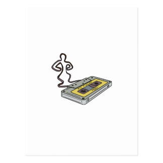 Compact Cassette Tape Man Dancing Mono Line Postcard