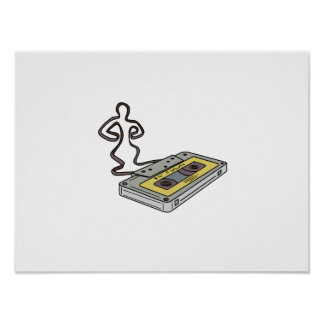 Compact Cassette Tape Man Dancing Mono Line Poster