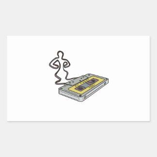 Compact Cassette Tape Man Dancing Mono Line Sticker