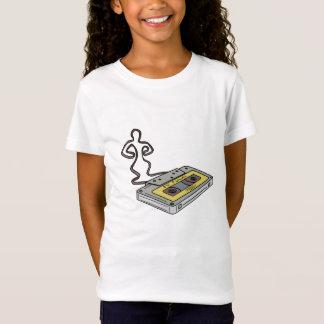 Compact Cassette Tape Man Dancing Mono Line T-Shirt