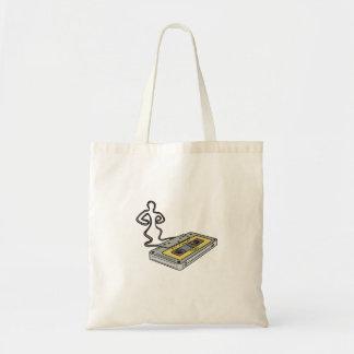 Compact Cassette Tape Man Dancing Mono Line Tote Bag