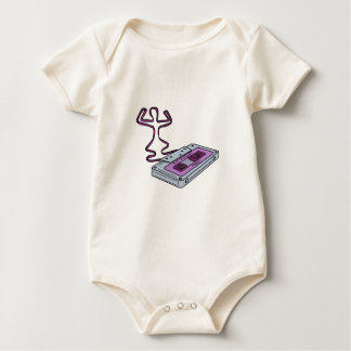 Compact Cassette Tape Raising Up Arm Mono LIne Baby Bodysuit