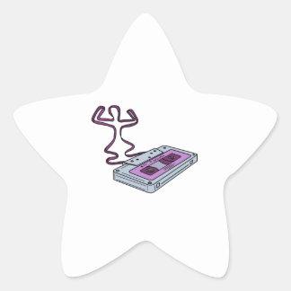 Compact Cassette Tape Raising Up Arm Mono LIne Star Sticker