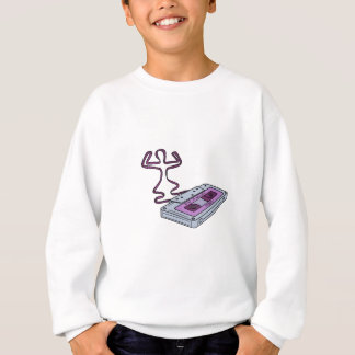 Compact Cassette Tape Raising Up Arm Mono LIne Sweatshirt