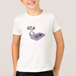 Compact Cassette Tape Raising Up Arm Mono LIne T-Shirt