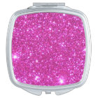Compact Cosmetic Mirror Girlie Pink Sparkly Gift 2
