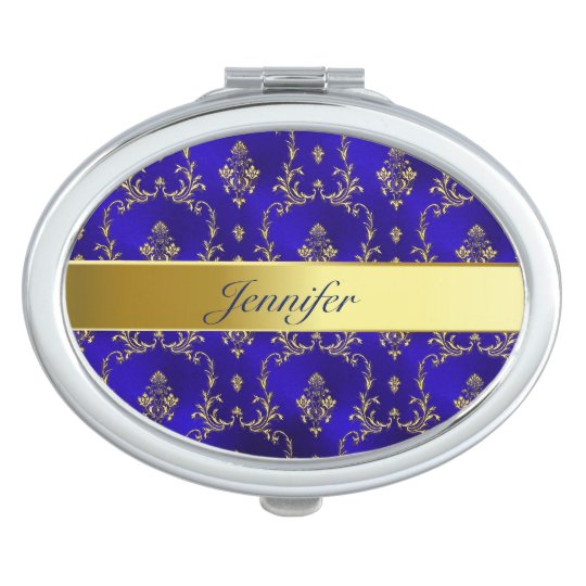 Compact Mirror--Blue & Gold Compact Mirrors