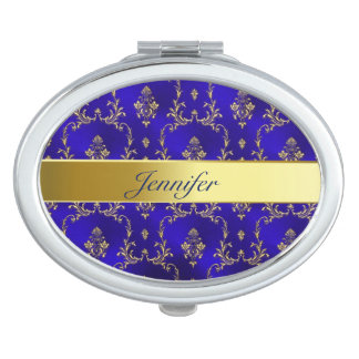 Compact Mirror--Blue & Gold Makeup Mirror