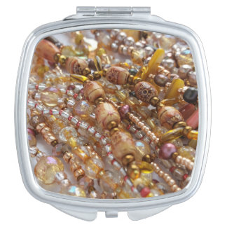Compact Mirror- Earth Tones Bead Print Mirror For Makeup