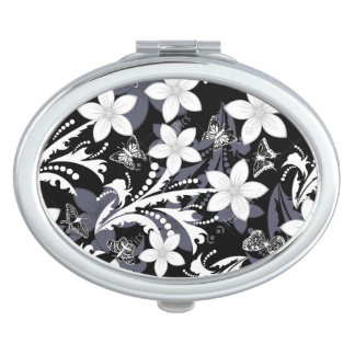 COMPACT MIRROR FASHIONABLE FLORAL BUTTERFLY DESIGN
