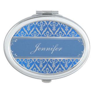 Compact Mirror--Fleur de Lis -Light Blue & Silver Vanity Mirror