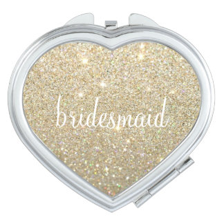 Compact Mirror - Glitter Bridesmaid Fab Gold