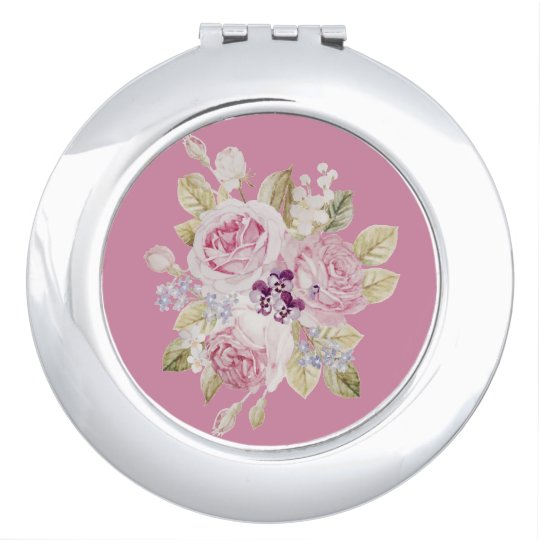 Compact mirror of romantic rose handle