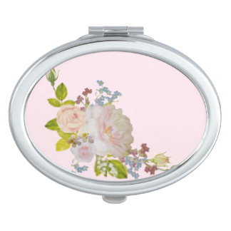 Compact mirror of white rose and forget-me-not
