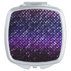 Compact Mirror Purple Crystal Bling Strass