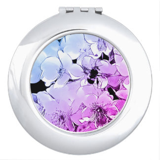 Compact Mirror With Bumblebee and Flower Design