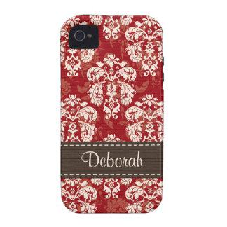 Compagnon rouge-brun de cas de l iPhone 4 de damas iPhone 4 Case