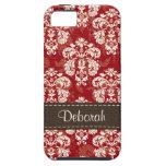 Compagnon rouge-brun de cas de l'iPhone 5 de damas