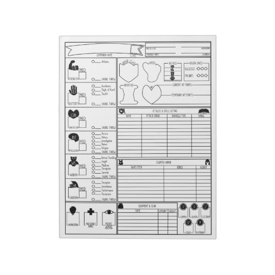 Companion Character Sheets Notepads