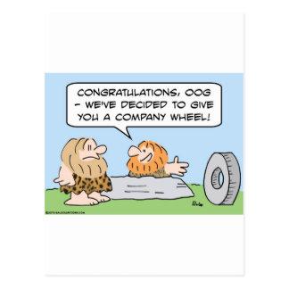 company wheel caveman postcard