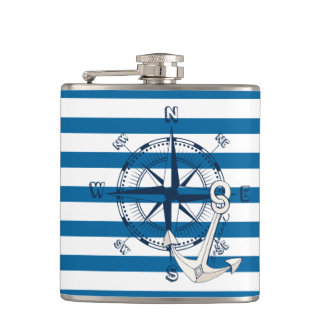 Compass and Anchor Blue and White Stripe Flask