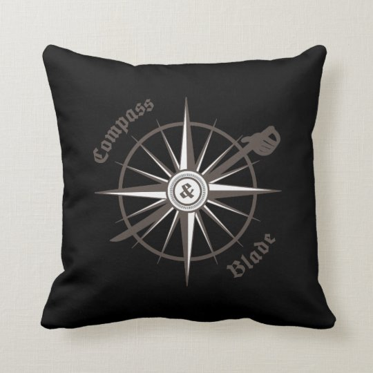 Compass and Blade Throw Pillow