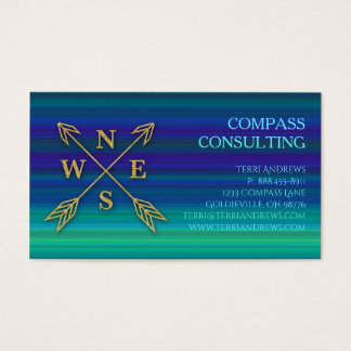 Compass Arrows Accounting Gold Blue Green Stripes Business Card