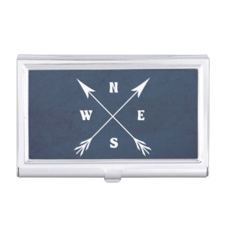 Compass arrows business card holder