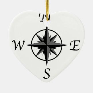 Compass Arrows Ceramic Heart Ornament