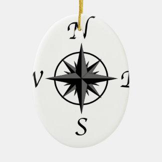 Compass Arrows Ceramic Oval Ornament