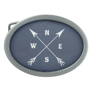 Compass arrows oval belt buckle