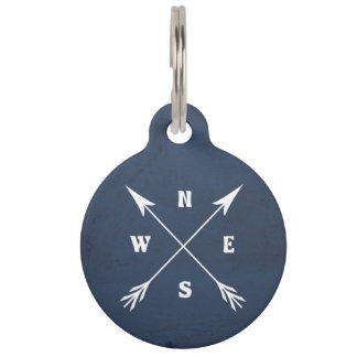 Compass arrows pet ID tag