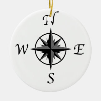Compass Arrows Round Ceramic Ornament