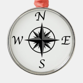 Compass Arrows Silver-Colored Round Ornament