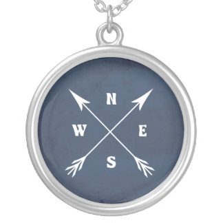 Compass arrows silver plated necklace