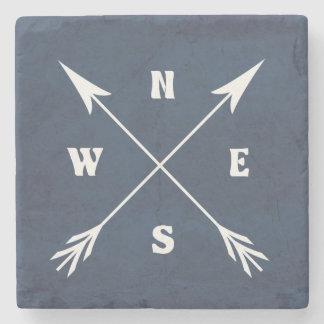 Compass arrows stone coaster