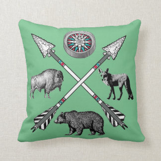 Compass Bear Fox Buffalo Crossed Arrows Throw Pillow