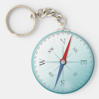 Compass East North South West Compass Rose Keychain
