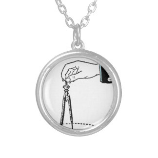 Compass, math tool. silver plated necklace