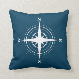 Compass Nautical Navy Pillow