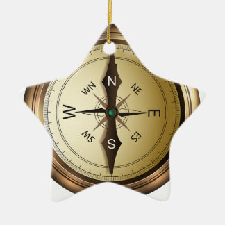 Compass North South East West Ceramic Ornament