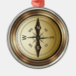 Compass North South East West Metal Ornament