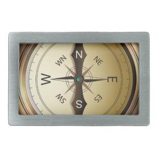 Compass North South East West Rectangular Belt Buckle