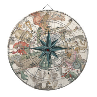 Compass on an Ancient Map Dartboard With Darts