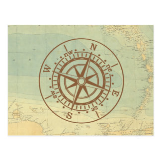 Compass on old map nautical travel postcard