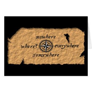 Compass on treasure map card