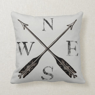 Compass Pillow: North, South, East & West Throw Pillow