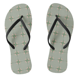 Compass Print Camp Camping Hiking Outdoors Gift Flip Flops